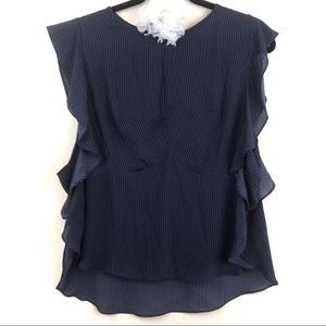 Sheer Navy Blue Pinstriped Flutter Sleeve Blouse